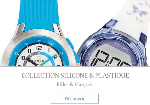 Montre bracelet silicone et plastique pour enfant fille et garçon